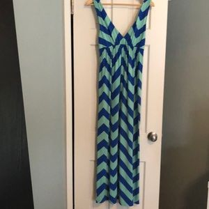 VGU Jcrew vneck blue and green Maxi Dress